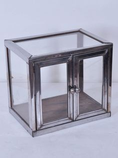 Small Antique French Chrome and Glass Vitrine
