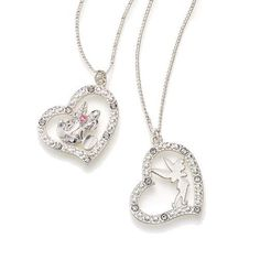 "Pavé faux stones set in silvertone. Chain, 16 1/2"" L with 3 1/2"" extender. <br><br> ©Disney"