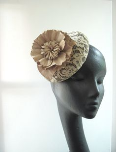 Chantilly Lace Cocktail Hat  Tea Stained Suede Flower Wedding