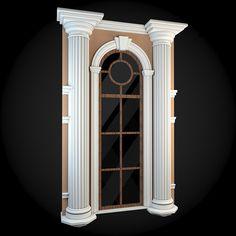 Wall 037 - Item for Sale Classic House Design, House Front Design, Cool House Designs, Window Design, Door Design, Exterior Design, Door Frame Molding, House 3d Model, Entrance Design