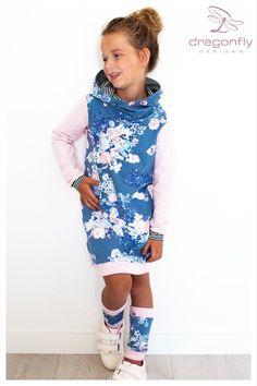 Baby Sweaters, Girls Sweaters, Girl Sweat, Sweat Dress, Hooded Dress, Thalia, Tight Leggings, Baby Sewing, Baby Dress