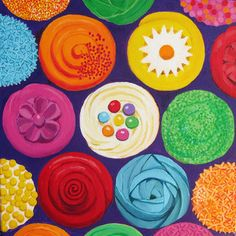 """Colorful Cupcakes"" by Toni Silber-Delerive This piece contains the element of color. This piece resembles what seems to be the top view of cupcakes. It creates a salvating effect of sweetness. From the colors used, you could make out how each cupcake tastes."