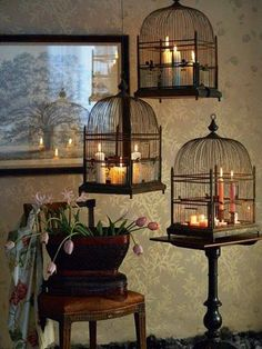 Breathtaking DIY Vintage Decor Ideas Birdcages with candles. I like birdcages, and the candles, but I'd use three different styles of cages.Birdcages with candles. I like birdcages, and the candles, but I'd use three different styles of cages. Gothic Home Decor, Diy Home Decor, Vintage Gothic Decor, Living Room Decor Ideas Vintage, Creepy Home Decor, Victorian Gothic Decor, Gothic Room, Gothic Interior, Antique Decor