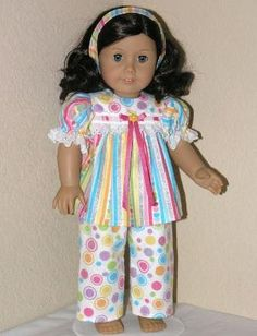 American Girl Doll Clothes 18 inch Flannel Pajamas by LidiDesigns by Heyjude01