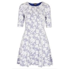 """Topshop Floral Jacquard Skater Dress Floral jacquard charms this denim-style skater dress cut with a fitted elbow-sleeve bodice and swingy flared skirt. 32"""" length (size 8). Unlined. 49% polyester, 48% viscose rayon, 3% elastane. Machine washable (cold). Great used condition. Worn twice. Topshop Dresses Mini"""