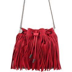 STELLA MCCARTNEY Stella Maccartney Stella Fringed Bucket Bag ($665) ❤ liked on Polyvore featuring bags, handbags, shoulder bags, drawstring shoulder bag, drawstring bucket bag, bucket bags, fringe purse and red purse