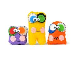Plush mini monsters set of 3. Kids charm cuddly toys. Party