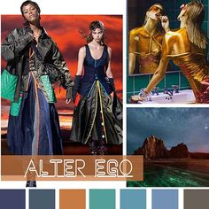 color report on WeConnectFashion, Women's Market Mood: Alter Ego. Fashion Art, Fashion Tips, Fashion Design, Fashion Trends, Color Trends 2018, Future Fashion, Fashion Colours, Costumes For Women, Alter Ego