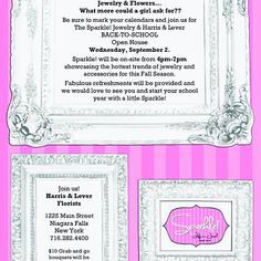 Jewelry & Flowers... What more could a girl ask for? Join us for our Sparkle Jewelry Back-to-School Open House. Wednesday September 2nd. @lifeisajewel1