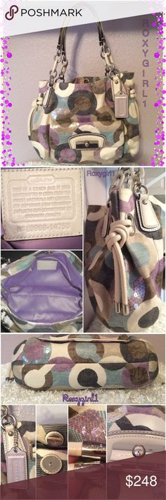 """COACH KRISTIN SEQUIN OP ART SHOULDER BAG #14750 COACH KRISTIN GRAPHIC SEQUIN OP ART SHOULDER BAG #14750 MSRP: $458 RARE LIKE NEW! CARRIED ONCE ~ NO ISSUES  Exterior: Stain & water resistant fabric Ivory leather trim Sequin embellishments Double leather & chainlink straps with a 10"""" drop Large front pocket with magnetic clasp closure Gusseted corded leather side ties Polished Silver Hardware Magnetic top closure Coach hang tag Includes Dust bag Interior: Lavender fabric Zippered pocket 2 Slip…"""