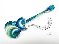 guitar gifts for him . guitar gifts for him diy . guitar gifts for him boyfriends . Paper Quilling Tutorial, Quilling Work, Origami And Quilling, Quilled Paper Art, Paper Quilling Designs, Quilling Paper Craft, Quilling Patterns, Paper Crafts, Quiling Paper