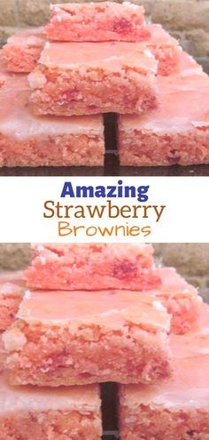 Ingredients: FOR BROWNIES: 1 box strawberry cake mix (I use Duncan Hines) 2 eggs cup oil FOR GLAZE: 1 cup powdered sugar 1 TB water or milk # strawberry cake Amazing Strawberry Brownies Cake Mix Desserts, Cake Mix Recipes, Brownie Recipes, Easy Desserts, Delicious Desserts, Yummy Food, Boxed Cake Recipes, Summer Cake Recipes, Drink Recipes