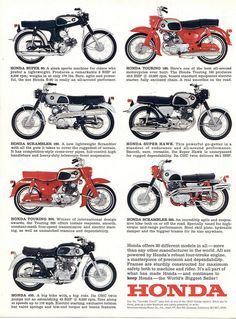 Vintage Motorcycles 1967 Honda line up Classic Honda Motorcycles, Vintage Motorcycles, Cars And Motorcycles, Womens Motorcycle Helmets, Motorcycle Posters, Motorcycle Girls, Motorcycle Types, Honda Cub, Honda Motors
