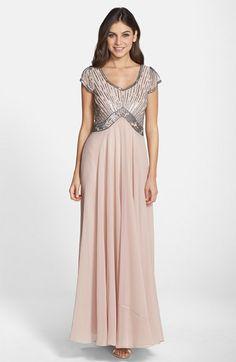 Womens J Kara Beaded Bodice Chiffon Gown Size 18 - Beige $248.00 AT vintagedancer.com