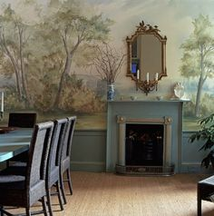 Susan Harter - scenic wallpaper murals Calmsden True dining room mural over wainscoting and fireplace painted trim Scenic Wallpaper, Custom Wallpaper, Wallpaper Murals, Antique Wallpaper, Landscape Wallpaper, Grisaille, Interior Decorating, Interior Design, Fall Decorating