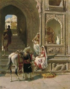A meeting at a temple gateway in Mathura, by Edwin Lord Weeks, c.1885