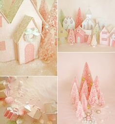 Love this vintage looking pink Christmas Village.