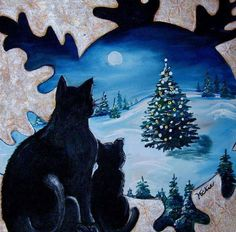 Christmas Cats by Vickie Christmas Scenes, Christmas Animals, Blue Christmas, Christmas Cats, Vintage Christmas, Christmas Ideas, Merry Christmas, Black Cat Art, Black Cats