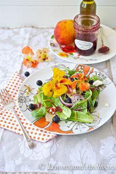 Mixed Green Salad with Nectarine-Blueberry Vinaigrette