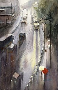 Journey Home X by Keiko Tanabe Watercolor ~ 21 1/2 x 14 1/4 inches (54.5 x 36 cm)
