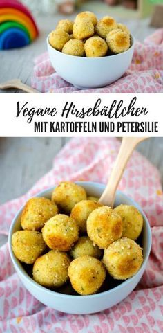 {Recipe} Vegan millet and potato balls - green sprout-{Rezept} Vegane Hirse-Kartoffel-Bällchen – Grünspross Recipe for vegan millet balls with potatoes and parsley – perfect for (small) children - Fingers Food, Childrens Meals, Vegetarian Recipes, Healthy Recipes, Healthy Nutrition, Vegan Vegetarian, Vegan Snacks, Healthy Snacks, Going Vegan