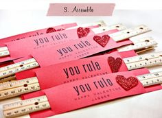 "You Rule Valentines: Your lil one may become the teacher's pet after handing out these studious Valentines! RE:Located Living's ""You Rule"" project is perfect for lil ones to assemble by themselves, and the new PDF printable makes it easier do than ever!  Source: RE:Located Living"