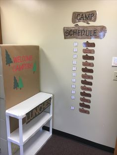 Camp theme classroom, welcome campers, camp schedule
