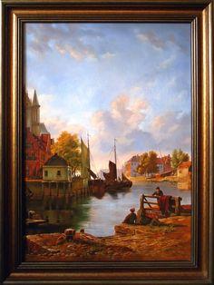 Holandia, Port,  78cm x 55cm,  Obraz olejny na płótnie