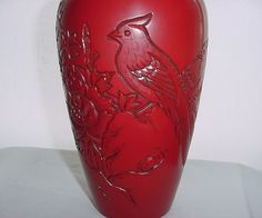 ONE of a KIND 1993 CINNABAR VASE Signed INCREDIBLE Hand Carved BIRDS with INSERT