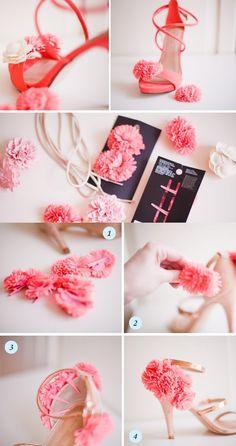 DIY pom pom flower heels