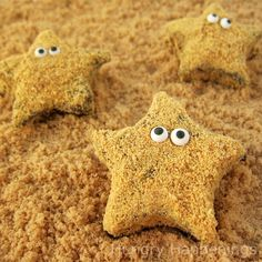 smores starfish... marshmallows dripped in chocolate and dusted with graham crumbs... one day i will try my hand at homemade marshmallows and make these!