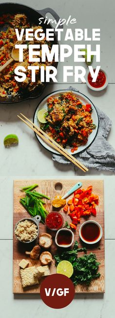 DELICIOUS and EASY Vegetable Tempeh Stir Fry! 30 minutes, 10 ingredients, BIG flavor, SO satisfying! A hearty tempeh stir fry with BIG flavor! Just 30 minutes to prepare this weeknight dinner to use up leftover vegetables and please a crowd! Vegan Dinners, Lunches And Dinners, Meals, Italian Dinners, Quinoa Stir Fry, Stir Fry Tempeh, Vegetarian Recipes, Healthy Recipes, Tempeh Recipes Vegan