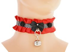 Red black silver Kitten collar kitten play pet by FashionForWomen