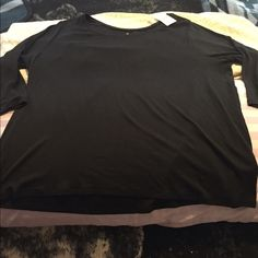 Lane Bryant 3/4 sleeve black top Black, dressy , 3/4 length sleeves. Lane Bryant Tops Tees - Long Sleeve