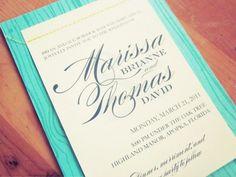 Marissa + Tom's Aqua Blue Faux Bois Wedding Invitations