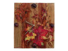 Handmade clock with autumn leaves (reclaimed wood) Handmade Clocks, Wood Home Decor, House In The Woods, Autumn Leaves, Decoupage, Fall Leaves