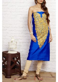 Medium Blue Kashmiri Aari Embroidered Handloom Tussar Silk Dress Material
