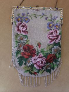 Victorian Micro Beaded Purse Roses Cabachon Enameled Frame