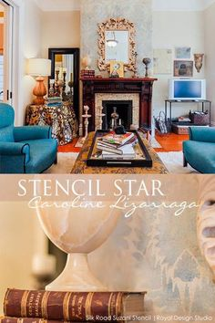 Sophisticated stenciled fireplace treatment with our Silk Road Suzani Stencil | Artist Caroline Lizarraga - Catherine Nguyen Photography