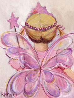 """""""Little Fairy Princess - Blonde"""" Canvas Wall Art for Little Girls by Kristina Bass Bailey for Oopsy Daisy 10x14 $59, 18x24 $119, and 24x30 $159"""