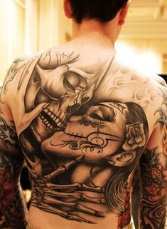 Love. Til death do us part. Skull. Skeleton. Love. Black and grey. Back piece. El dia de los muertos.