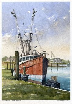 Ms. Voncille   Bayou la Batre, Alabama by Iain Stewart Watercolor ~ 13 x 9