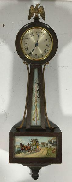Vintage Seth Thomas Clock Co Hampton Banjo Wall Hanging Clock Horse Carriage   eBay