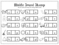Workstation for stamping medial sound...good for differentiating instruction.