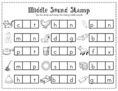 Literacy Centers! :) middle sound and beginning sound . . . free!  (I am not a big fan of the messy stamps, but this would be awesome laminated, then the kids could use dry erase markers!