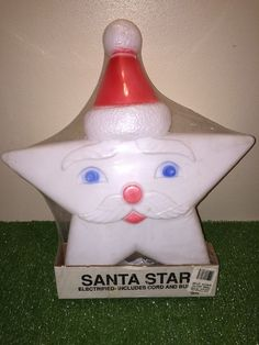 "NEW  Vintage Christmas 16"" Union White Santa Star Lighted Blow Mold Decoration"