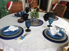 Mesa de Natal Azul