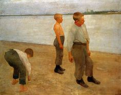 Boys Throwing Stones 1890 Oil on canvas, 120 x 149 cm Magyar Nemzeti Galéria, Budapest FERENCZY, Károly Hungarian painter (b. Post Impressionism, Art Database, Victor Vasarely, Manet, Whistler, Various Artists, Renoir, Art History, Oil On Canvas