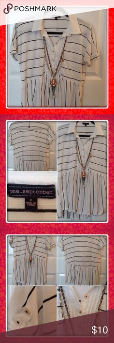 BOGO Anthropologie top Anthropologie cotton black & white striped nautical top; slight high low; brand is one September; tabs on sleeves; size is petite but fits more like a small or medium; no stains or rips; Anthropologie Tops