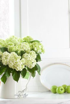 Green hydrangeas by French Country Cottage http://feedproxy.google.com/~r/blogspot/QoLtm/~3/5vz4R9AOuVM/flower-power-5-fix-to-keep-hydrangeas.html via bHome https://bhome.us